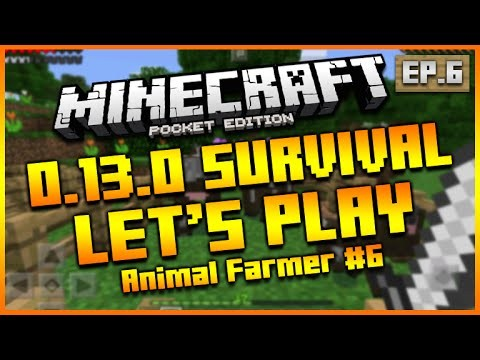 "Minecraft Pocket Edition 0.13.0 – Let's Play Survival ""ANIMAL FARMER!"" Episode 6"