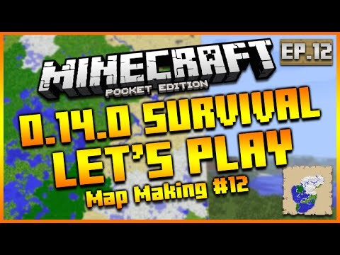 "MINECRAFT POCKET EDITION 0.14.0 – LET'S PLAY SURVIVAL ""MAP MAKING & HOPPERS"" EPISODE 12"