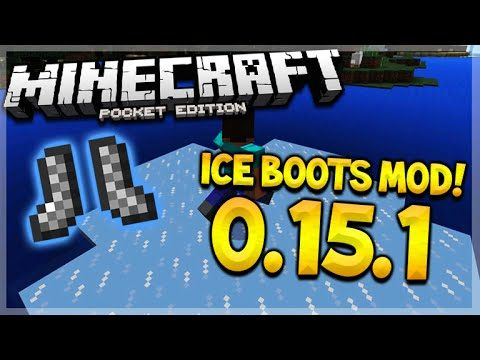 MCPE 0.15.1 ICE BOOTS MOD! Minecraft Pocket Edition Frost Walker + Game Pause Mod! (Minecraft PE)