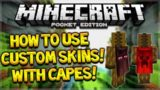 MCPE CUSTOM CAPE SKIN TUTORIAL! Minecraft PE: 0.15.9+ How To Use Your Skin With Minecon Capes
