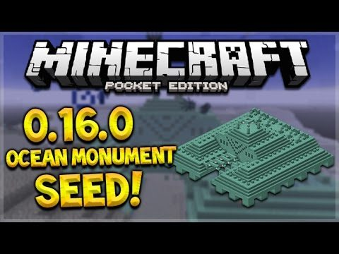 OCEAN MONUMENT AT SPAWN!! Minecraft Pocket Edition – 0.16.0 Guardian Temple Survival ISland Seed