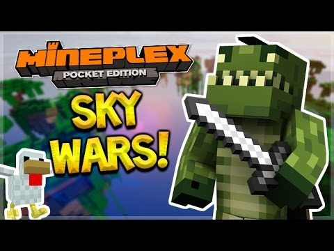 EPIC MCPE SKYWARS!! Minecraft Pocket Edition Mineplex PE Skywars Teams Battle!