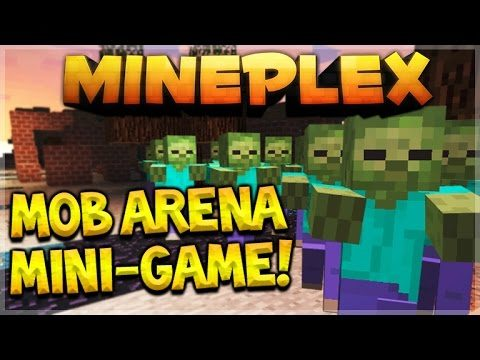 MOB ARENA BATTLES! Mineplex Pocket Edition NEW Mini-Game OMG! Giant Wither Skeleton! (MCPE)