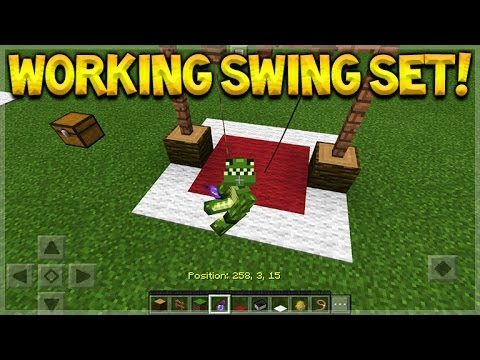 HOW TO MAKE A WORKING SWING SET IN Minecraft Pocket Edition
