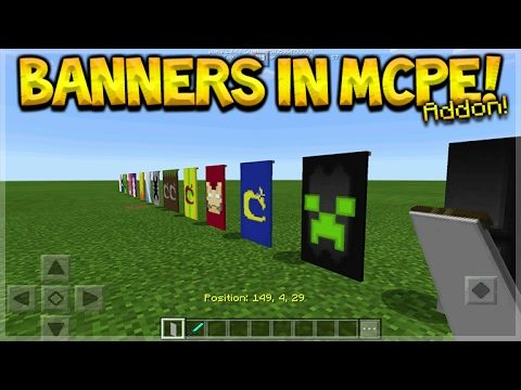 BANNERS IN MCPE! Minecraft Pocket Edition – 1.0.4 Custom Banners ADDON (Pocket Edition)