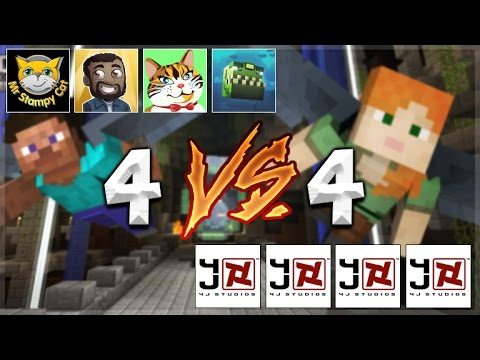 YOUTUBERS Vs 4jSTUDIOS! Minecraft Console Edition – GLIDE Mini-Game 4V4 Battle