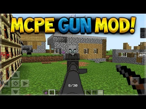 MCPE GUN MOD!! Minecraft Pocket Edition 1.1 Machine Guns, Shotguns, Snipers & More!!