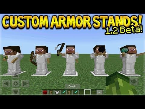 HOW TO USE CUSTOM ARMOR STANDS! Minecraft Pocket Edition – 1.2 BETA NEW Armor Stands Poses!