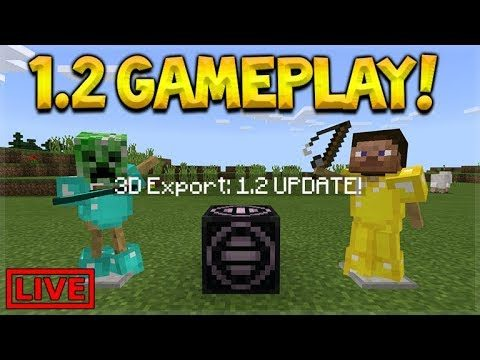 LIVE 1.2 GAMEPLAY – Minecraft Pocket Edition 1.2 Beta Build 1 Structure Blocks (Win 10)