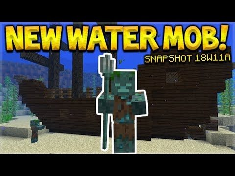 NEW WATER MOB! – Minecraft 1.13 Aquatic Update Shipwrecks & Water Zombie (Snapshot 18W11A)