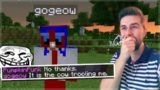 THE EVIL COW IS HACKING HIM! The Ultimate Troll On Minecraft Players