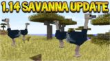 NEW MINECRAFT 1.14 UPDATE – NEW SAVANNA BIOME TREES, TERMITES & OSTRICH MOB!