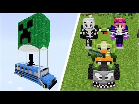 Fortnite In Minecraft Pocket Edition! (Weapons, Loot Llamas, Quadcrasher, Music & More)