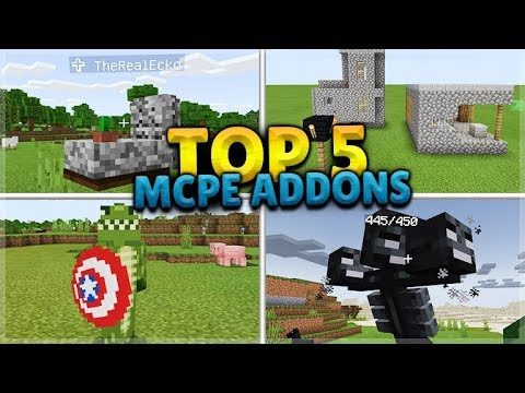 THE TOP 5 BEST ADDONS For Minecraft Pocket Edition (iOS, Android, PC, Xbox, Switch)